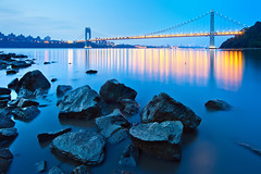 Early Morning Blue Hour at the George Washington Bridge (chris lazzery) Tags: newyorkcity longexposure newjersey twilight bluehour fortlee georgewashingtonbridge canonef14mmf28lii 5dmarkii