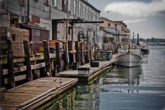 Old Port~ Portland, Maine (Vicki Lund Photography) Tags: ocean county travel blue red sea summer vacation sky usa seagulls fish tourism nature water birds clouds docks reflections geotagged boats harbor landscapes fisherman nikon artist raw photographer seascapes natural