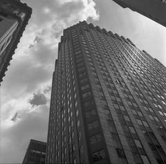 Looking Up (DeShaun Craddock) Tags: newyorkcity blackandwhite mediumformat landscape analogphotography filmphotography fujineopan100 rolleiflexautomatmx rolleiflexautomatk4a rolleiflexautomattype4