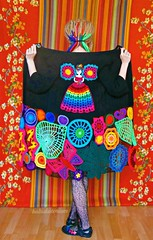 Fairy Princess In The Enchanted Forest - Irish Lace Upcycled Rainbow Hippie Crochet Sweater Coat (babukatorium) Tags: pink blue red orange black flower color green art wool fashion rose yellow dreadlocks butterfly circle sweater rainbow purple princess recycled handmade turquoise teal burgundy oneofakind coat crochet moda peach violet style fairy blonde button daisy bead romantic hippie dread psychedelic dreads tulle rasta embellished cardigan bohemian multicolor whimsical renew darkblue sequin haken häkeln emeraldgreen crochê ganchillo fuxia upcycled uncinetto yarnhair handdecorated woolhair yarndreads かぎ針編み daisyloom irishlace dreadextension tığişi horgolt uvgreen wooldread woolrovingdreads fakedread babukatorium