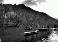 Upper Kachura Lake (AsadWazir) Tags: pakistan blackandwhite lake boats upperkachura flickrandroidapp:filter=nyc
