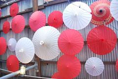 Umbrellas on Scaffolding Ceiling (thoth1618) Tags: nyc newyorkcity red white ny newyork brooklyn scaffolding umbrellas fortgreene tinroof photooftheday chezoskar