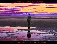 Anthony Gormley's Statue (Muzammil (Moz)) Tags: sunset liverpool crosby moz afraaz muzammilhussain ukcanon7d anthonygormleysstatue