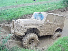 Muddy LJ (Simon Didmon) Tags: france green classic car big jeep offroad 4x4 suzuki tyres lj80