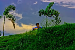 """Wait !!! (Rambonp:loves all creatures of this universe.) Tags: blue trees wallpaper sky plants lake water grass clouds canon landscape paradise human boating chandigarh simmer lanndscape """"india sukhnalakechandigarh canonedge"""
