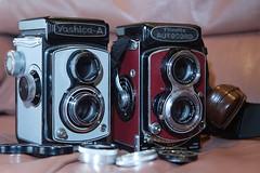 My little TLR collection (steveod2007) Tags: tlr film minolta 1d yashicaa autocord ef2470f28l vintagecameras 1dmk1 rollineinar