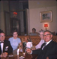 Frank, Grace, Dick and Alice  - Hotel Oberland - Interlaken - Swiss - Sept. 1969 (Gareth Wonfor (TempusVolat)) Tags: 60s sixties 1960s 1969 bowtie elegant elegance woman man frank grace dick alice hotel oberland interlaken gareth tempusvolat tempus volat mrmorodo gw vintage scan scanner scanned epson perfection v200 slides slide old film archive archival nostalgia swinging swiss switzerland holiday vacation envacance couples goodlooking pearls drinks smart scanning scans photoscanner epsonperfection square squareformat format garethwonfor mr morodo wonfor