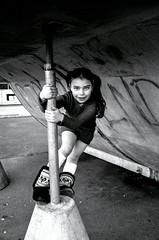 Girl in the park (sophie_merlo) Tags: park street portrait blackandwhite bw girl childhood bristol children blackwhite model grafitti child bn modelemilylouise