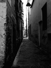 """Long Street"" (giannipaoloziliani) Tags: life street old city light people blackandwhite italy black lamp monochrome dark long downtown shadows view stones liguria horizon citylife streetphotography murals hidden genova strong suburb walls longstreet longview timeless architectures giannipaoloziliani"