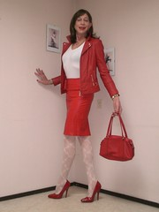 Red leather outfit. (sabine57) Tags: drag tv pumps highheels cd tights skirt crossdressing tgirl transgender jacket tranny transvestite handbag pantyhose crossdresser crossdress redleatherjacket leotard travestie transvestism patternedtights patternedpantyhose redleatherskirt