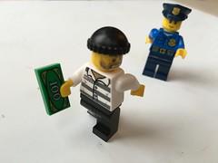 Legomen Stealing 100! (jeffdjevdet) Tags: money photo lego image stock fake free running scene policeman robber legoman