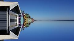High Tide? (RP Major) Tags: ocean blue sky seascape reflection beach water mirror bay samsung huts shore galaxys6