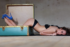 The suitcase girl (Alberto Panizzolo) Tags: wood blue light portrait black girl canon photography eos model floor lingerie alberto sharing suitcase chiara marcon panizzolo