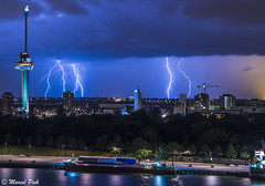 Euromast Rotterdam with Lightning in Background (CapMarcel) Tags: rotterdam nederland lightning euromast onweer
