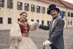 A fancy old couple (ir0ncevic) Tags: street old portrait history st yellow century vintage square costume opera traditional tourist marks zagreb trg sv attraction 19th garments marka