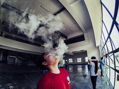 smoke. (Jech't) Tags: red art asian living asia smoke philippines rad culture lifestyle fisheye dope swag pinoy buhay vape