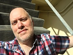 Day 1642 - Day 182: Summertime (knoopie) Tags: 2016 june picturemail iphone summer summertime stairwell doug knoop knoopie me selfportrait 366days 366daysyear5 year5 365more day1642 day182