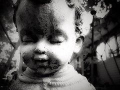 185/366 Don't Blink (Bernie Anderson) Tags: portrait white black monochrome angel dark one blackwhite child tn who dr horror grayscale weeping adamsville project365 500px project366 ifttt