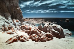 Anapei Rocks (McSnowHammer) Tags: beach clouds ir bay rocks nz infrared abel tasman anapei