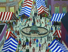 Remembered (Garg-oil) Tags: people art statue painting landscape memorial acrylic market canvas oil remembered townscape warmemorial lowry stalls townsquare gargoil marketstalls