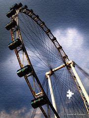 Gloomy Singapore Flyer (Sound of Colours) Tags: cloud abstract art wheel flyer missing singapore dramatic olympus puzzle jigsaw feeling e3 piece ferries