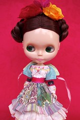 For Chui Cheng  Flores  (Kikihalb  Forest~Tales ) Tags: floral set mexico belt outfit clothing doll dress handmade folk embroidery sewing silk frida skirt clothes cotton jacket ms ribbon blythe merry tight printed skier embroidered kahlo petticoat flounces