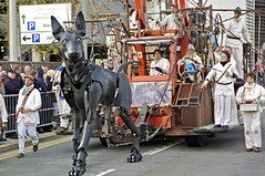 THE DOG XOLO AND TEAM (ONETERRY. AKA TERRY KEARNEY) Tags: people dog pet nature liverpool canon giant puppet wildlife police unesco littlegirl pierhead policeman merseyside rivermersey xolo oneterry terrykearney liverpoolseaodyssey