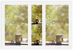 Steam-a-doodle-doo (*iris-hues*) Tags: green canon afternoon bokeh mosaic backdrop cashewnuts risingsteam eos7d glasslighthues gettyimagesindiaq4 glhartdecor glhad steamadoodledoo asteamingcupoftea greenmugoftea