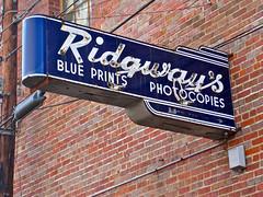 Ridgway's, Shreveport, LA (Robby Virus) Tags: blue sign louisiana neon arc printing prints shreveport photocopies blueprints ridgways