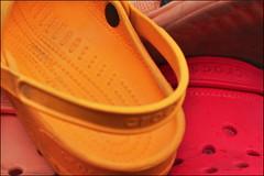 Crocs0933 (s.schmitz) Tags: red orange france colors yellow nikon shoes europe d sandals salmon plastic nikkor 18 50 crocs d90