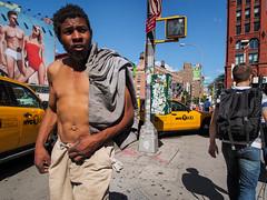 advertising works (zlandr) Tags: street city nyc newyorkcity shirtless urban newyork manhattan candid soho olympus houstonst omd inclose em5 chrisfarling zlandr