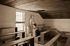 Hauge Log Church - Original Pews, Guaranteed Too Narrow (bo mackison) Tags: windows wisconsin balcony historicchurch nationalregisterofhistoricplaces driftlessregion canon5dmarkii haugelogchurch originalpews daleysville southewesternwisconsin
