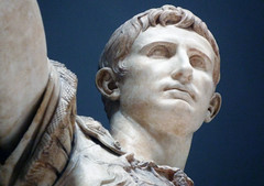 Augustus of Primaporta, detail looking up at face