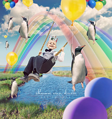 Owen - The Emperor of Penguins (The Drawing Hope Project) (Shawn Van Daele) Tags: price clouds balloons penguin penguins fly rainbow king magic creative dream surreal aerial swing adventure story fantasy squareformat emperor levitate childrensdrawing shawnvandaele drawinghopeproject