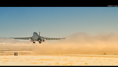 Blast Off! (~Clubber~) Tags: airplane desert lasvegas aircraft aviation military mission rockwell airforce bomber usaf takeoff runway lancer bombing rotate redflag nellis afterburner b1b
