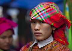 Flower Hmong Woman With A Headscarf, Sapa, Vietnam (Eric Lafforgue) Tags: two people woman face horizontal female standing scarf person colorful asia exterior head headshot vietnam colourful twopeople humanbeing sapa colorphoto headandshoulders headgear northernvietnam lookingatcamera reddao twopersons reddzao 5775 daopeople traditionalheadgear
