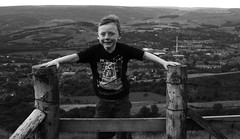 Windswept (PaulEBennett) Tags: boy white black mono child derbyshire hayfield theperch