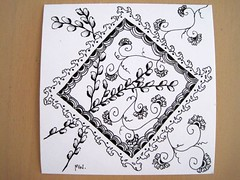 zen-challenge no2 - agua (MichelleWillow) Tags: agua swap strings catkin tangle crescentmoon swapbot zentangle hennadrum