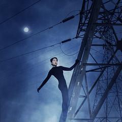 ...By Night (thingsmelissamakes) Tags: portrait fog powerlines nightscene transmissiontower