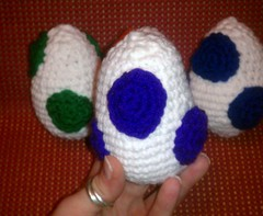 Crochet Yoshi Eggs (GeekChicCrochet) Tags: blue orange game silly cute green nerd colors kids stuffing fun toy island tv video stuffed soft purple geek handmade unique crafts crochet cartoon ds adorable craft super mario yarn fantasy videogame nes chic etsy bros luigi yoshi loveable snes squee geekchiccrochet