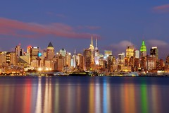 New York City on August 18, 2012 (mudpig) Tags: city nyc newyorkcity longexposure mist ny newyork reflection fog skyline night reflections geotagged newjersey timessquare esb bankofamerica hudsonriver empirestatebuilding empirestate gothamist edgewater hdr hoboken newyorktimes barclay weehawken allianz unionhill mudpig stevekelley stevenkelley