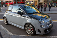 Fiat 500C Abarth (NykO18) Tags: barcelona road street sunset people españa car reflections person dawn mirror spain automobile europe catalonia transportation manmade vehicle catalunya cataluña fiat500 fiatcinquecento passeigdegràcia