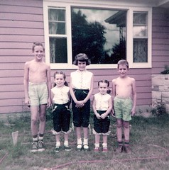 Patrice, Aleda, and two cousins - summer 1955