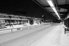 Before the T shut down (photosbyfletch) Tags: winter cambridge usa snow weather night subway massachusetts transportation northamerica mbta greenline universalhub worldthroughmyeyesmonochromemondays