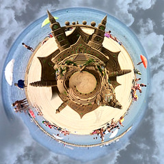 building sandcastles in the sky (jjamv) Tags: trip travel sea vacation sky panorama sun holiday color beach water clouds port square landscape geotagged puerto mar spain europe nuvole day cloudy surreal playa catalonia arena clear espana sueos cielo panoramica squareformat nubes promenade dreams sandcastle aerialphotography reus spagna platja catalunia espaol nwn sogni costadorada vilafortuny castellodisabbia tunneleffect tinyworld castillodearena stereographicprojection holidaysvacanzeurlaub proyeccinestereogrfica marmediterranea cieloespaol jjamv julesvtravel lumia930 juliusvloothuis microsoftlumia930 deformedpanoramas 360degreeangle polarcoordinatedistortions