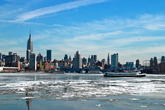 Winter on the Hudson (quiggyt4) Tags: park city nyc newyorkcity winter urban snow newyork cold reflection ice weather skyline architecture reflections river bench frozen newjersey spring cityscape waterfront manhattan nj freezing sunny arctic groundhog freeze esb hudsonriver empirestatebuilding chilly hudson gothamist iceberg gotham benches blizzard chill climate hoboken thaw iceflow groundhogday sleet hudsoncounty ronpaul windchill ows occupy hudsoncountynj maxwellplacepark occupywallstreet 432parkavenue polarvortex 432park