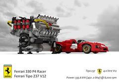 Ferrari 330 P4 Sports Prototype (1967 - sn 0856) & UCS Ferrari Tipo 237 V12 Engine (lego911) Tags: auto italy classic sports car model italian lego render under over engine ferrari 330 prototype million 1967 motor 1960s powerplant daytona challenge lemans thousand cad racer lugnuts 89 povray v12 moc ucs p4 drogo ldd miniland 0856 lego911 sn0856 overamillionunderathousand