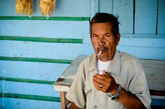 Old Man Toba (mrfuller) Tags: travel portrait lake sumatra indonesia island cigarette oldman smoking backpacking crater batak toba bapak samosir danautoba dsc24692