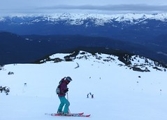 Watching the kids ski down Peak to Creek (Ruth and Dave) Tags: children whistler skiing mother skiresort fiona kirsten skier whistlerblackcomb catrin telemarker peaktocreek