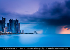 Qatar - Doha - Doha Corniche during heavy storm at sunrise ( Lucie Debelkova / www.luciedebelkova.com) Tags: street new city travel light sea sky urban panorama house building beach water glass skyline architecture modern skyscraper outdoors town casa office arquitectura cityscape estate view artistic cit capital scenic middleeast haus structure arabic business arab corniche arabia highrise vista architektur historical qa arabian exploration seashore architettura ville gcc architectuur doha qatar multistorey urbain waterscape magiclight katar qatari dohacorniche stateofqatar dohaskyline dawha addawhah  dawhah  luciedebelkova addawa adda wwwluciedebelkovacom  dawlaqatar